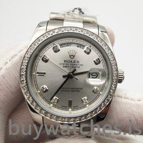 Rolex Day-date 118346 Orologio automatico con diamanti 36 mm grigio argento