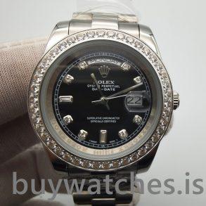 Rolex Day-Date 218349 Orologio automatico da uomo di 41 mm, nero con diamanti