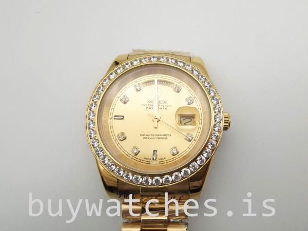 Rolex Day-Date 128348rbr Orologio automatico unisex in oro da 36 mm con diamanti