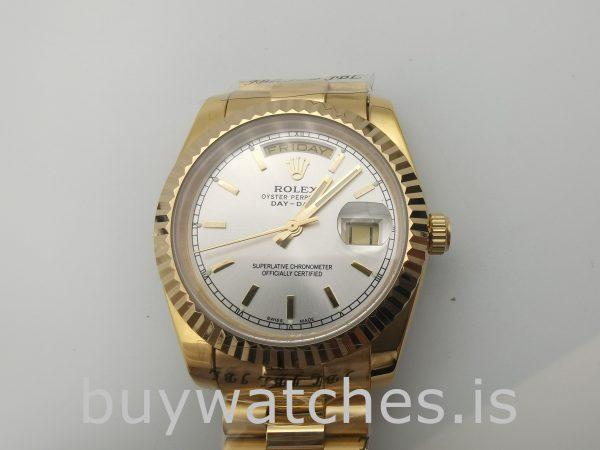 Rolex Day-Date 18238 Orologio da uomo in argento automatico da 36 mm