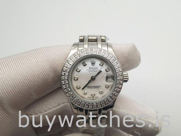 Rolex Datejust 81339 Orologio da donna con quadrante bianco da 34 mm e 31 rubini