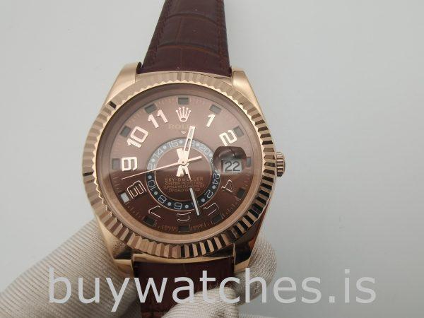 Rolex Sky-Dweller 326135 Orologio in pelle con quadrante color cioccolato da 42 mm