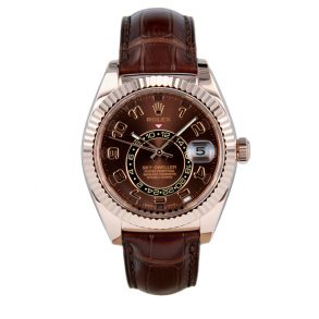 Rolex Sky-Dweller 326135 Orologio in pelle con quadrante color cioccolato da 42 mm